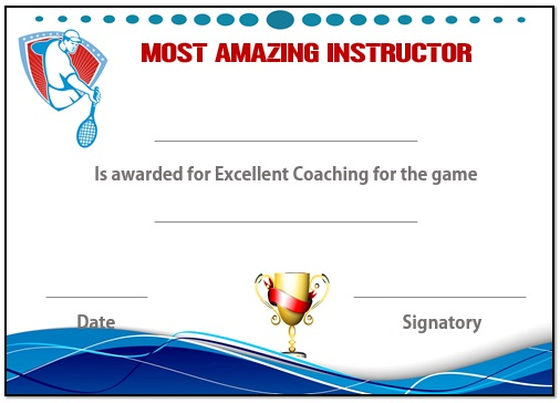 Tennis instructor certificate