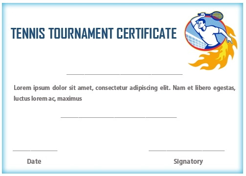 Tennis tournament certificate template