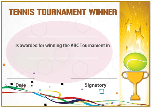 Tennis tournament winner certificate