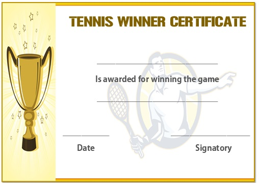 Tennis winner certificate