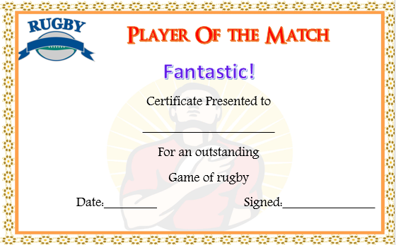 Touch Rugby Certificate Template