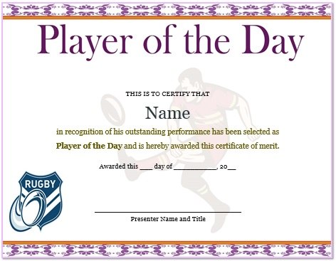 touch rugby player of the day certificate