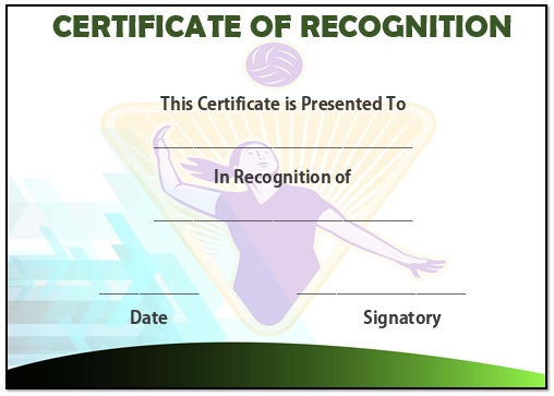 Volleyball recognition certificate
