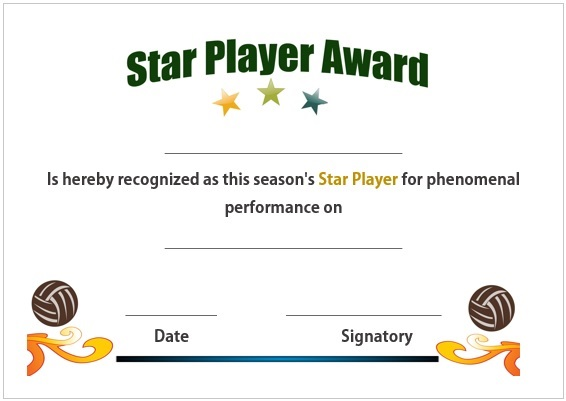 Volleyball star player award certificate