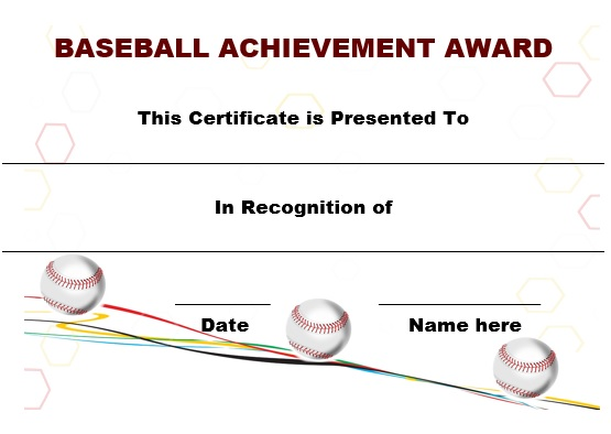 youth baseball certificate template