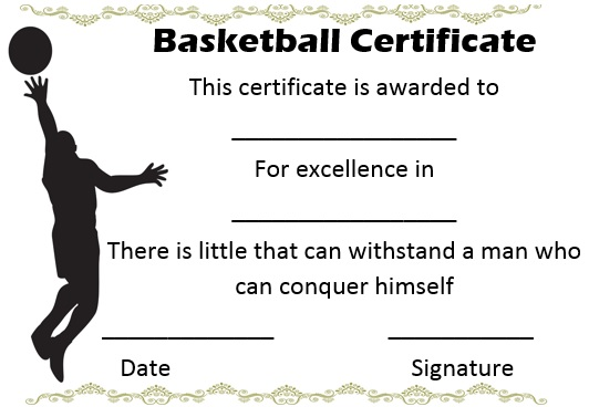 youth basketball certificate templates