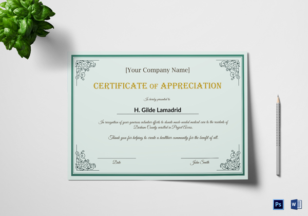 20 Free Certificates Of Appreciation For Employee Templates