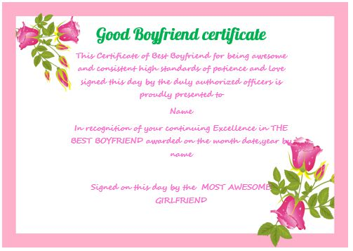 Good Boyfriend Certificate