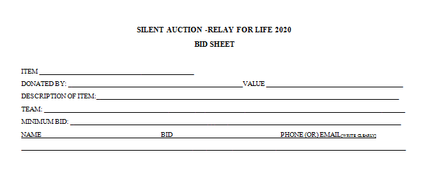 Relay For Life Silent Auction Bid Sheet