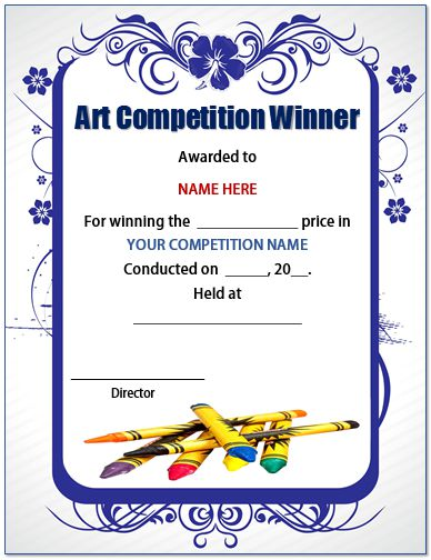 Art Competition Certificate Template