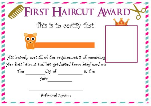 Baby Boy'S First Haircut Certificate 2