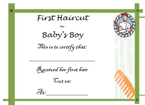 Baby Boy'S First Haircut Certificate 3