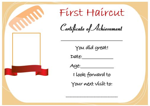 Baby Girl First Haircut Certificate 2