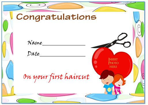 Baby'S First Haircut Certificate Free Template 2