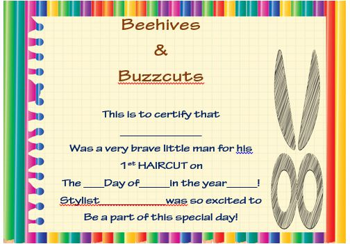 Baby's First Haircut Printable Certificate