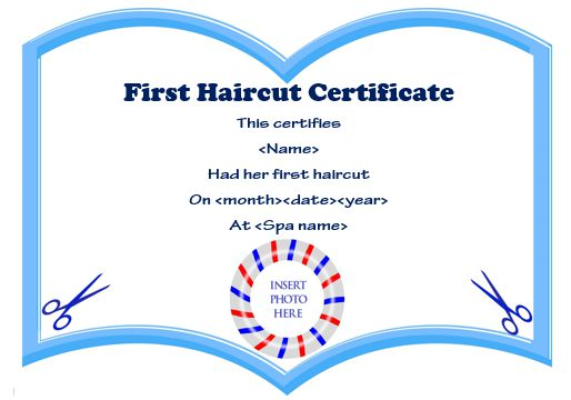 Baby'S First Haircut Printable Certificate 2