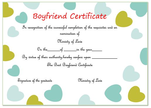 Best Boyfriend Award Certificate Printable