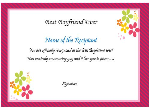 Certificate Best Boyfriend Ever