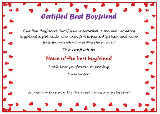 Certificate For Boyfriend