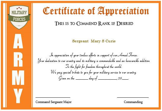 Certificate Of Appreciation Army Promotion Points
