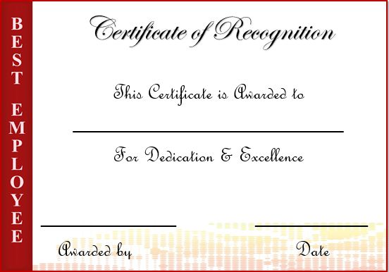 Certificate Of Appreciation Employee Recognition