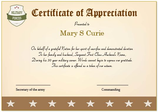 Certificate Of Appreciation For Army Spouse