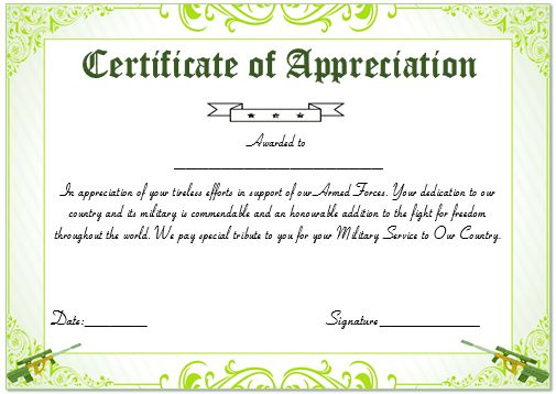 Certificate Of Appreciation For Military Service