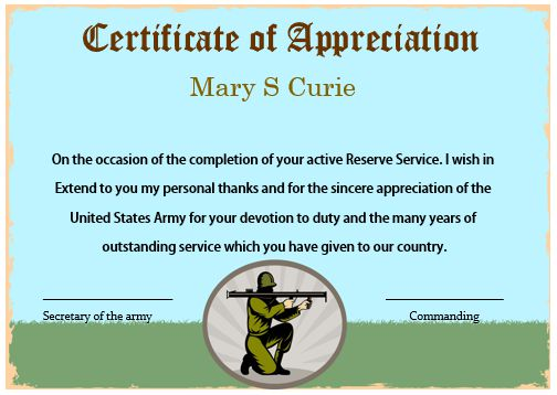 Certificate Of Appreciation Template Us Army