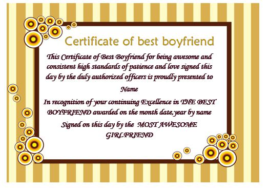 Certificate Of Best Boyfriend