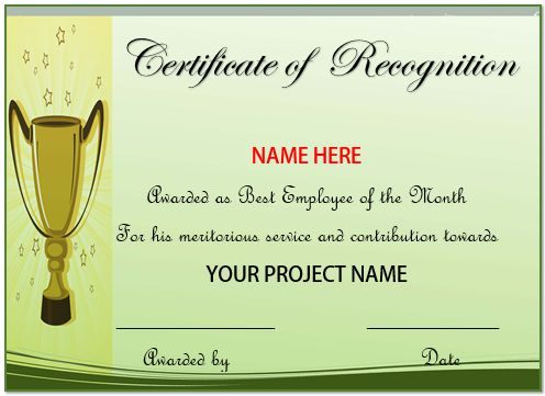 Certificate Of Recognition Best Employee