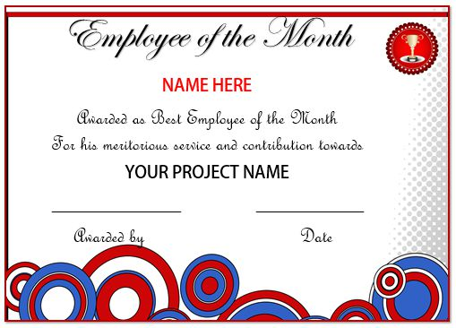 Certificate Of Recognition Employee Of The Month