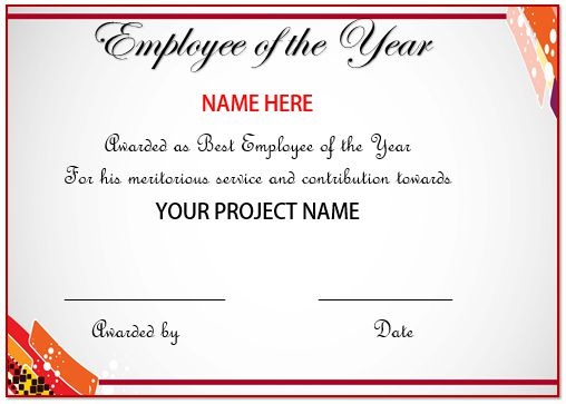 Certificate Of Recognition Employee Of The Year