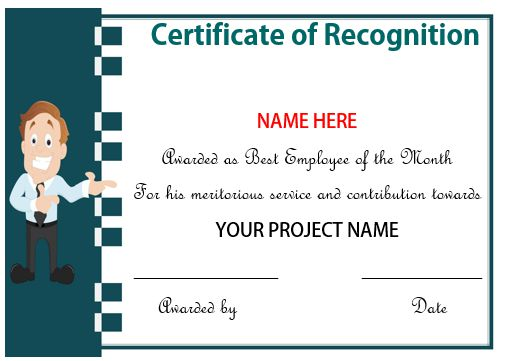 Certificate Of Recognition For Employee Of The Month