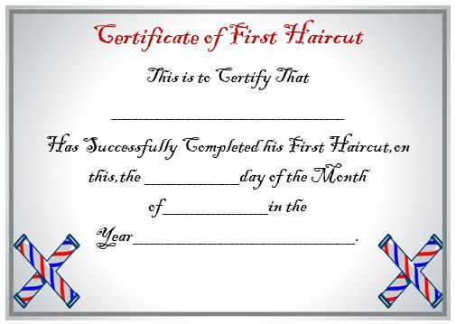Child's First Haircut Certificate
