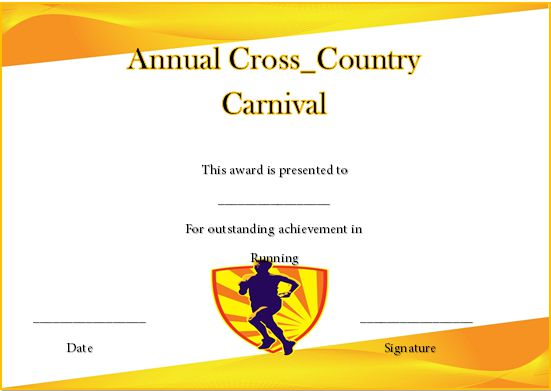 Cross Country Running Certificate Template