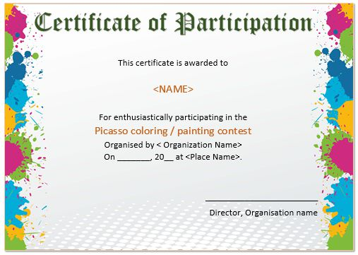 Drawing Competition Participation Certificate