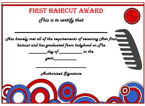 First Haircut Certificate London