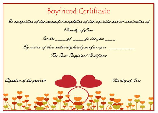 Perfect Boyfriend Certificate