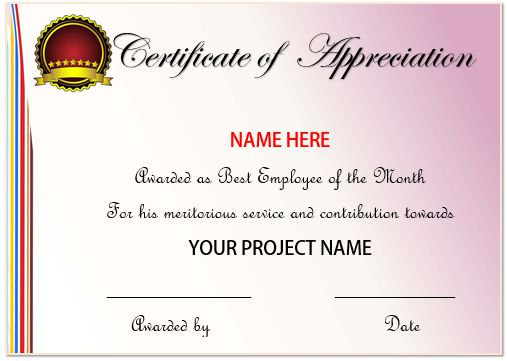 Sample Of Certificate Of Appreciation For Best Employee