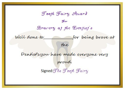 Tooth Fairy Award Certificate