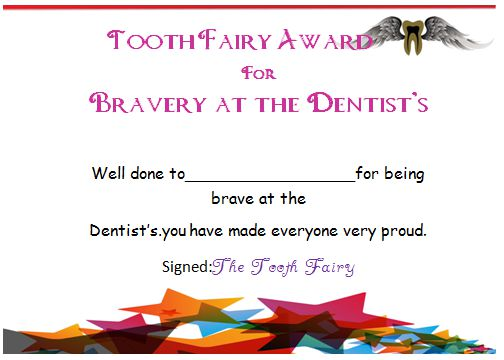 Tooth Fairy Bravery Certificate