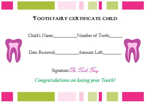 Tooth Fairy Certificate Child