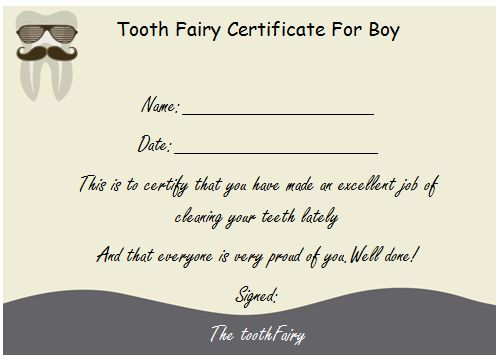 Tooth Fairy Certificate For Boy