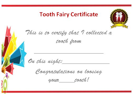 Tooth Fairy Certificate Free