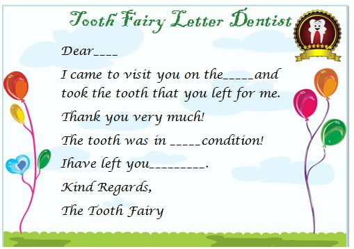 Tooth Fairy Letter Dentist