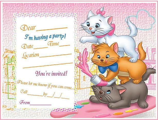cute cats birthday invitation template