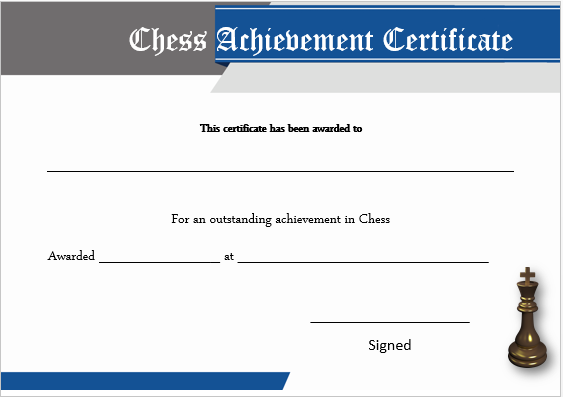 Chess Achievement Certificate