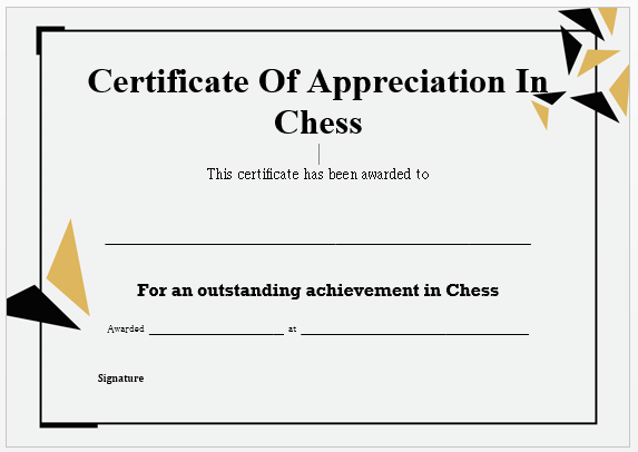 Chess Certificate Of Appreciation