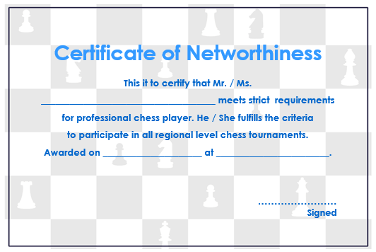 Chess Certificate Of Networthiness 2
