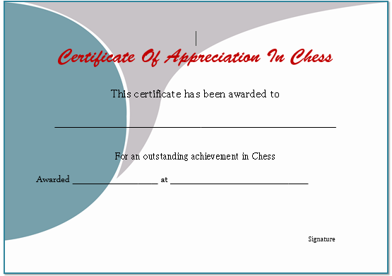 Chess Game Certificate